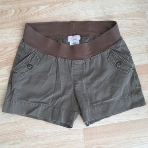 Maternity Brown Cotton Shorts Oh Baby / Motherhood